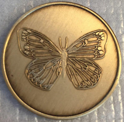Lot of 5 Butterfly Serenity Prayer Bronze AA Al-Anon Recovery Medallion Coin