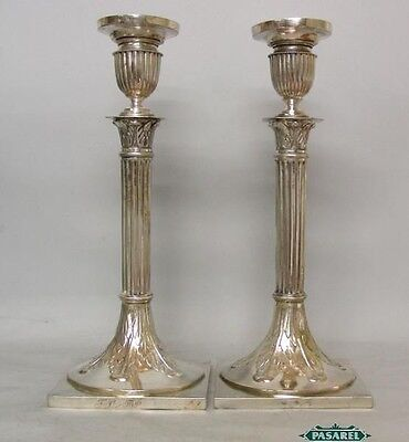 Fine Pair Of Silver Plated Candlesticks Russian Polish Ca 1880