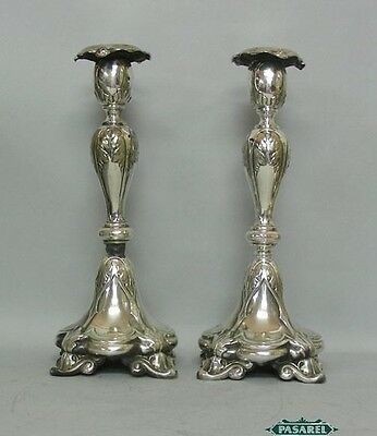 WMF Fraget Silver Plated Candlesticks Poland Ca 1900