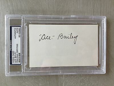 Ace Bailey Signed 3x5 Index Card Maple Leafs (d.92) PSA Slabbed #65102663