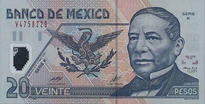 Mexico NON Series A 3-Bar type 20 Peso Second North American Polymer Issue p116b