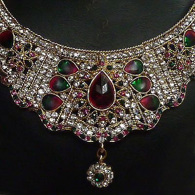 Bollywood Schmuckset Raveena gold magenta smaragd - Collier, Ohrringe, Ticka 15X