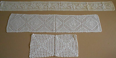 "Vintage Hand Filet Crochet Table Mats Lot 3  From Sweden 4x40"" 6x30"" 6x13"""