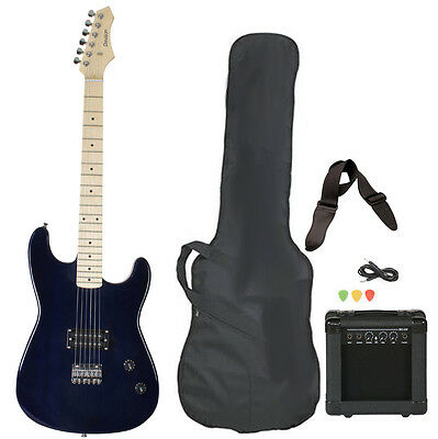 Full Size Blue Electric Guitar Package with Amp Case Strap Picks Value Pack