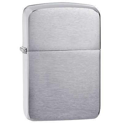 Official 1941 Replica Brushed Chrome Zippo Lighter - Boxed Gift Silver Tone