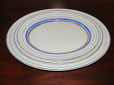Vintage 50s Palissy Set of 3 Serving Platters. White/ French Blue & Gold