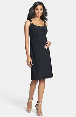 New JAPANESE WEEKEND MATERNITY Nursing Gold Slider Black Cocktail Dress M 10/12