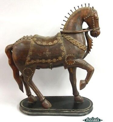 Fine Large Antique Burmese Wooden Horse Figure Early 19th Century