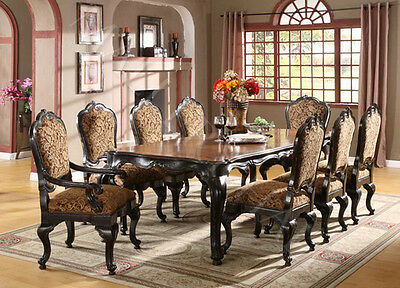 """78"""" Vintage Black Cabriole French Table Cherry Wood Carved"""