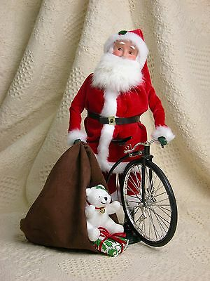 Byers Choice 2012 Philadelphia Show Special Santa w/Sack of Toys Bear Bike RARE