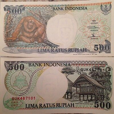 Indonesia 1999 500 Rupiah Uncirculated Note P-128 Orangutang From A Usa Seller