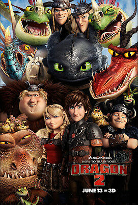 "How to Train Your Dragon 1 2 Movie Fabric poster 20"" x13"" Decor 02"