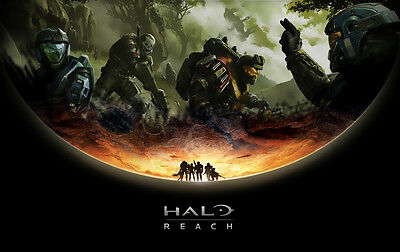 "Halo 1 2 3 4 Game Fabric poster 21"" x 13"" Decor 49"