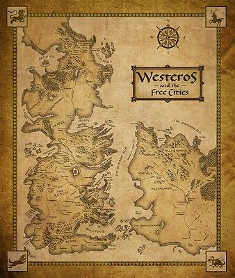 "Game Of Thrones Houses Map Westeros And Free Cit Fabric Poster 16"" x13"" Decor 56"