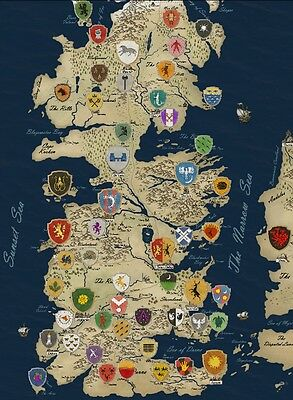 "Game Of Thrones Houses Map Westeros And Free Cit Fabric Poster 17"" x13"" Decor 55"