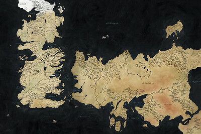 "Game Of Thrones Houses Map Westeros And Free Cit Fabric Poster 20"" x13"" Decor 35"