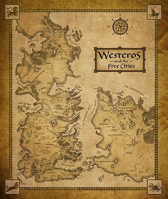 "Game Of Thrones Houses Map Westeros And Free Cit Fabric Poster 28"" x24"" Decor 56"