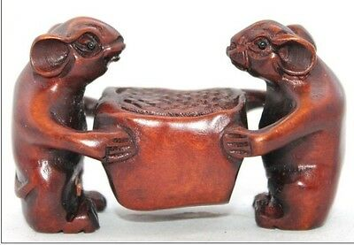 Chinese Handwork Carved Lovely Two Mouse Old Boxwood Netsuke