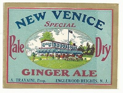 1920's New Venice Pale Dry Ginger Ale Label - Englewood Heights, NJ