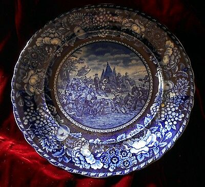 Rowland & Marsellus Co. Flow Blue Plate: DeSoto's Discovery of the Mississippi
