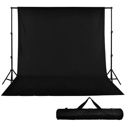10' Telescopic Support Stand 20' x 10' Muslin Backdrop Black Photo Background US