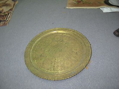 Huge Antique Islamic Persian Mosque Dome Design Copper Tray Hand Etched 29""