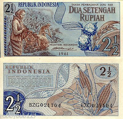 INDONESIA 2½ Rupiah Banknote World Money UNC Currency Asia Bill p79 - 1961 Note