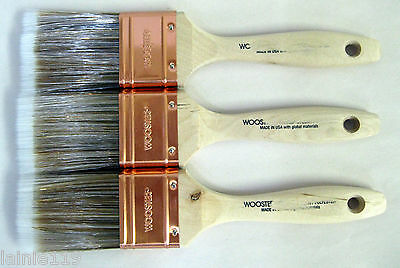 "Lot of 3 Wooster PRO FLAT Nylon/Polyester Straight Trim Paint Brushes, 2"" Each"