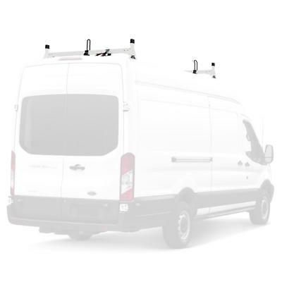 Vantech White H1 2 Bar Steel Ladder Roof Rack, Fits: Ford Transit Cargo 2015-On