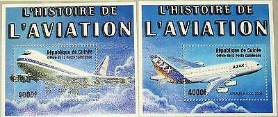 GUINEA 2002 Block 722-23 S/S 2087-88 Airplanes Flugzeuge Airbus Boeing 747 MNH