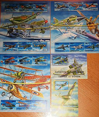 GUINEA 2002 Klb 3680-97 Block 724-25 2095-99 Military Aircrafts Flugzeuge Planes