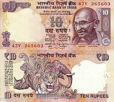 INDIA 10 Rupees Banknote World Paper Money UNC Currency Pick p-102h Gandhi Bill