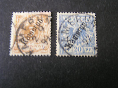 *Germany, Cameroun., Scott # 1+4(2), 1887 Stamps Of Germany Ovpt Issue Used