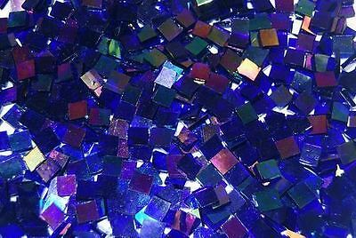 """100 1/2"""" Cobalt Blue Iridescent Stained Glass Mosaic Tiles"""