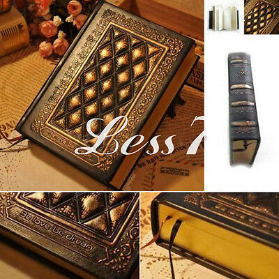 Vintage Classic Black Golden Plaid Leather Framed Notebook Diary Journal