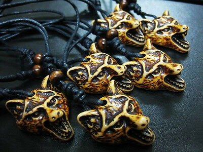4pc Lots Cool Men's yellow wolf head mini tibet style Pendant necklace DDB001