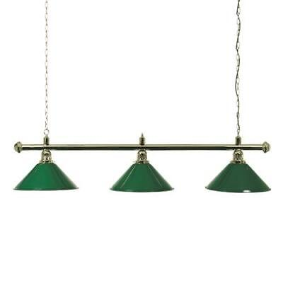 Brass Snooker or Pool Table Light Rail with 3 Green Shades