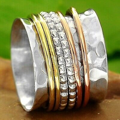 Solid 925 Sterling Silver Spinner Ring 3 Tone Spinning Wide Band New