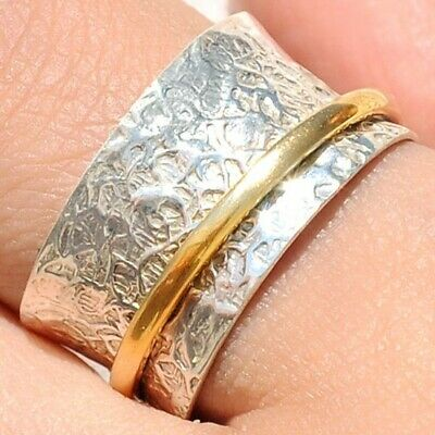 Solid 925 Sterling Silver Spinner Ring Two Tone Spinning Wide Band New