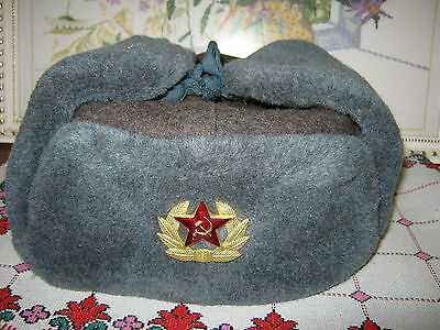 Original Old Soviet Army Soldier Winter Ushanka Hat + Badge Real Wool Size 62