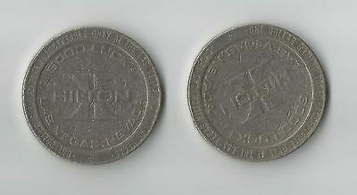 LAS VEGAS Hilton Casino $1 Tokens - Two (2) 1979 Coins - Las Vegas, Nevada