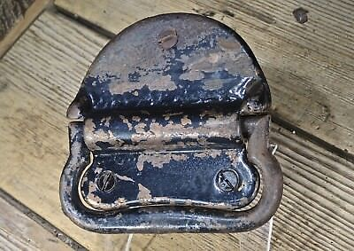 "Tool Box drop Handle chest Pull old vintage screws trunk 4 7/8"" black on copper"
