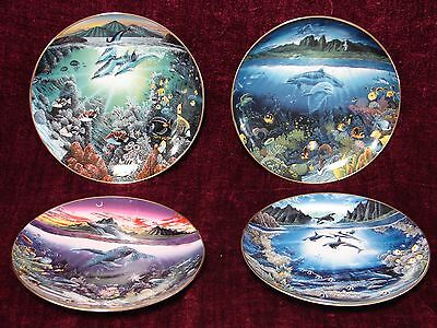 Lot/Set of 4 Robert Lyn Nelson 1991 Seascapes Plates from the Danbury Mint