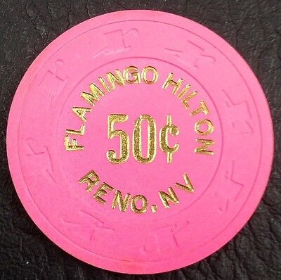 50¢ FLAMINGO HILTON CASINO CHIP RENO NEVADA PAULSON H&C MOLD 1995 FREE SHIPPING