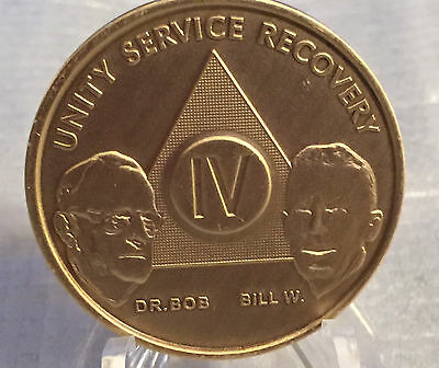 Alcoholics Anonymous AA Founders 4 Year Bronze Medallion Coin Chip Bill W & Bob