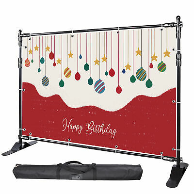 Step and Repeat 8x8' Banner Stand Adjustable Telescopic Trade Show Backdrop