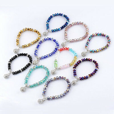 1pc Crystal Glass Rhinestone Faceted Beads Ball Women Fashion Bracelet Jewelry
