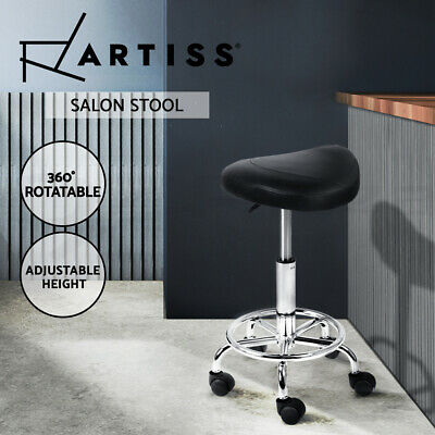 Artiss SADDLE Salon Stool Black PU Swivel Barber Hair Dress Chair Hydraulic Lift