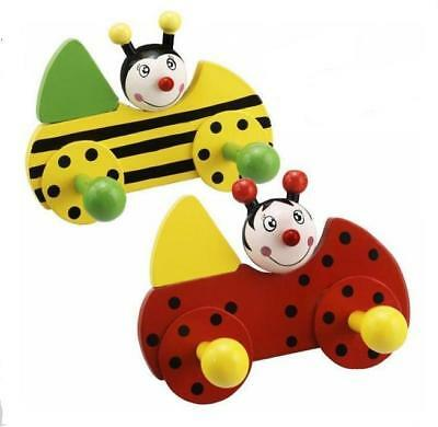 New Colourful Wooden Twin Coat Hooks Pegs Ladybird Or Bumble Bee Pw