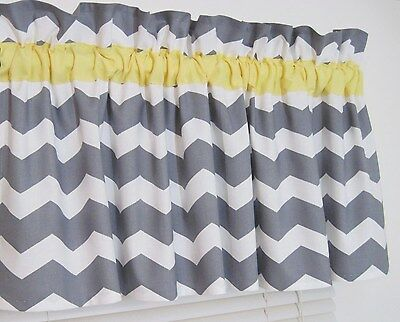 Yellow & Gray Chevron Window Curtain Topper Valance Zig Zag Bath Bedroom Nursery